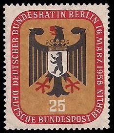 25 Pf Briefmarke: Deutscher Bundesrat in Berlin