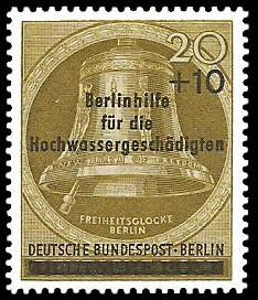 20 + 10 Pf Briefmarke: Berlinhilfe für die Hochwassergeschädigten
