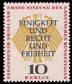 10 Pf Briefmarke: Bundestag in Berlin