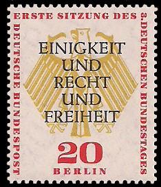 20 Pf Briefmarke: Bundestag in Berlin