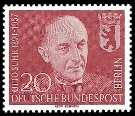 20 Pf Briefmarke: 1. Todestag von Otto Suhr