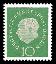 10 Pf Briefmarke: Bundespräsident Theodor Heuss