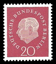 20 Pf Briefmarke: Bundespräsident Theodor Heuss