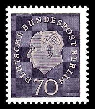 70 Pf Briefmarke: Bundespräsident Theodor Heuss