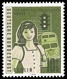 10 + 5 Pf Briefmarke: Ferienplätze für Berliner Kinder