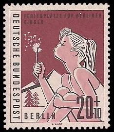 20 + 10 Pf Briefmarke: Ferienplätze für Berliner Kinder