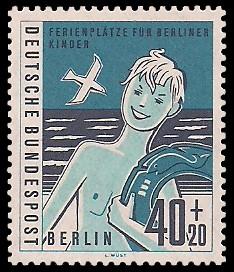 40 + 20 Pf Briefmarke: Ferienplätze für Berliner Kinder