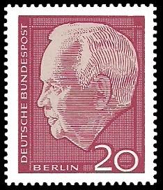 20 Pf Briefmarke: Bundespräsident Heinrich Lübke