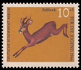 10 + 5 Pf Briefmarke: Für die Jugend 1966, Hochwild
