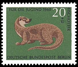 20 + 10 Pf Briefmarke: Für die Jugend 1968, bedrohte Tiere
