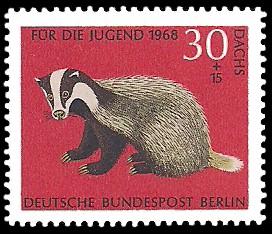 30 + 15 Pf Briefmarke: Für die Jugend 1968, bedrohte Tiere