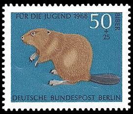 50 + 25 Pf Briefmarke: Für die Jugend 1968, bedrohte Tiere