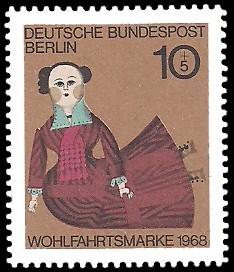 10 + 5 Pf Briefmarke: Wohlfahrtsmarke 1968, Alte Puppen