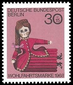 30 + 15 Pf Briefmarke: Wohlfahrtsmarke 1968, Alte Puppen