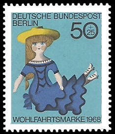 50 + 25 Pf Briefmarke: Wohlfahrtsmarke 1968, Alte Puppen