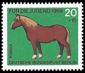 20 + 10 Pf Briefmarke: Für die Jugend 1969, Pferde