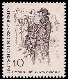 10 Pf Briefmarke: Zeichnungen: Berliner im 19. Jh.