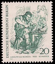 20 Pf Briefmarke: Zeichnungen: Berliner im 19. Jh.