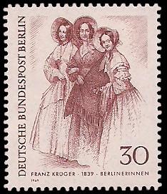30 Pf Briefmarke: Zeichnungen: Berliner im 19. Jh.