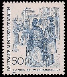 50 Pf Briefmarke: Zeichnungen: Berliner im 19. Jh.
