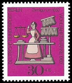 30 + 15 Pf Briefmarke: Wohlfahrtsmarke 1969, Zinnfiguren
