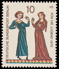 10 + 5 Pf Briefmarke: Für die Jugend 1970, Minnesänger