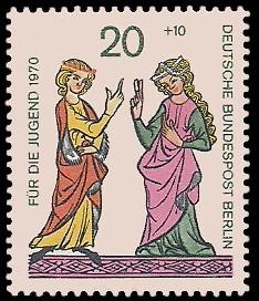 20 + 10 Pf Briefmarke: Für die Jugend 1970, Minnesänger