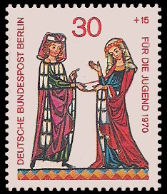 30 + 15 Pf Briefmarke: Für die Jugend 1970, Minnesänger