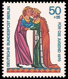 50 + 25 Pf Briefmarke: Für die Jugend 1970, Minnesänger