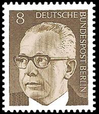 8 Pf Briefmarke: Bundespräsident Gustav Heinemann