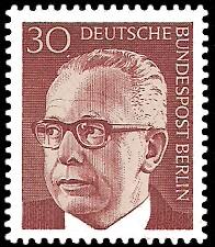 30 Pf Briefmarke: Bundespräsident Gustav Heinemann