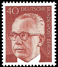 40 Pf Briefmarke: Bundespräsident Gustav Heinemann