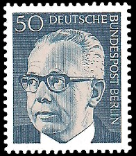 50 Pf Briefmarke: Bundespräsident Gustav Heinemann