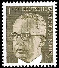 1 DM Briefmarke: Bundespräsident Gustav Heinemann