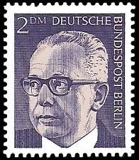 2 DM Briefmarke: Bundespräsident Gustav Heinemann