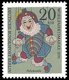 20 + 10 Pf Briefmarke: Wohlfahrtsmarken 1970, Marionetten