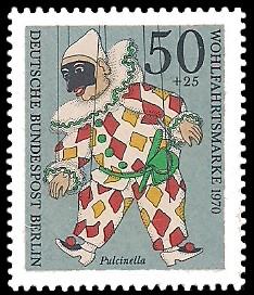 50 + 25 Pf Briefmarke: Wohlfahrtsmarken 1970, Marionetten