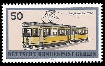 50 Pf Briefmarke: Berliner Verkehrsmittel, Schienenfahrzeuge