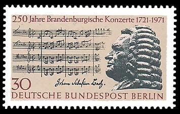 30 Pf Briefmarke: 250 Jahre Brandenburgische Konzerte