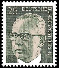 25 Pf Briefmarke: Bundespräsident Gustav Heinemann