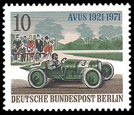 10 Pf Briefmarke: 50 Jahre AVUS
