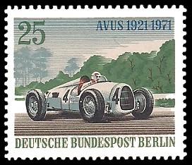 25 Pf Briefmarke: 50 Jahre AVUS