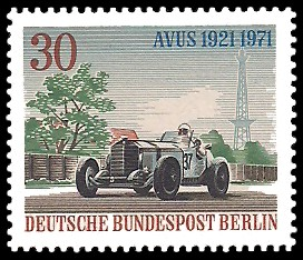 30 Pf Briefmarke: 50 Jahre AVUS