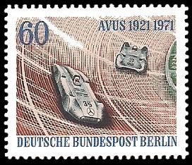 60 Pf Briefmarke: 50 Jahre AVUS