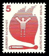 5 Pf Briefmarke: Jederzeit Sicherheit