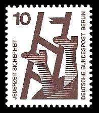 10 Pf Briefmarke: Jederzeit Sicherheit