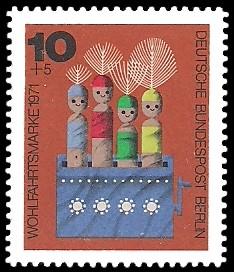 10 + 5 Pf Briefmarke: Wohlfahrtsmarken 1971, Holzspielzeug
