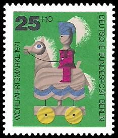 25 + 10 Pf Briefmarke: Wohlfahrtsmarken 1971, Holzspielzeug