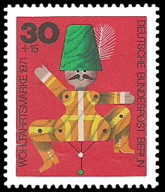 30 + 15 Pf Briefmarke: Wohlfahrtsmarken 1971, Holzspielzeug
