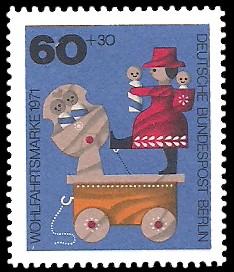 60 + 30 Pf Briefmarke: Wohlfahrtsmarken 1971, Holzspielzeug
